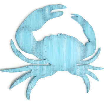 Blue Crab Wall Decor distressed rustic nautical wall hanging hand painted wood in pale blue and grey, shabby style crab zodiac sign