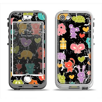 The Furry Fun-Colored Critters Pattern Apple iPhone 5-5s LifeProof Nuud Case Skin Set