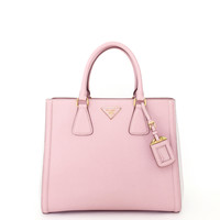 PRADA Bicolor Lux Saffiano Pink Leather Small Tote Bag