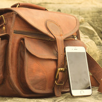 Full Grain Premium Tan Leather Travel Camera DSLR Satchel Bag with Padding