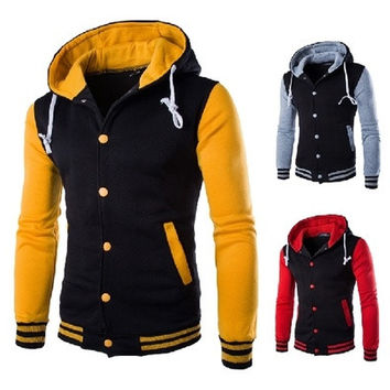 Hooded Varsity Jacket Men Slim Fit Mens College Baseball Jackets White Gray Wine Red Purple Yellow Blue Red Navy Blue [8833388236]
