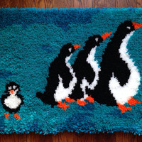 Large Vintage Mid Century Modern Latch Hook Woven Penguin Family Wall Hanging Decor Kids Room Decor