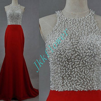 Custom Made Lond Red Stunning Beaded Crystal Prom Dresses,Long Red Mermaid Evening Dresses,Formal Party Dresses,Homecoming Dresses
