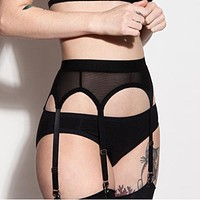 Plus Size Sexy Garter Belt Punk Goth Women Suspender Belt Hot Sheer Thigh High Exotic Lingerie Garters For Stockings Pantyhose