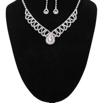 Rhinestone Jewelry Set with Scalloped Design and Teardrop Center