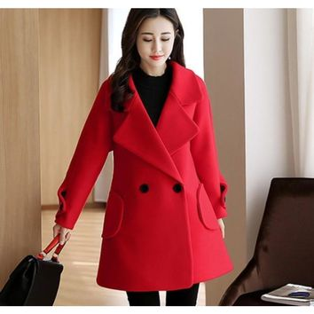 Womens Double Breasted Peacoat in Red