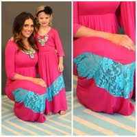 Mommy 3/4 Sleeve Hot Pink and Turquoise Lace Dress - Ryleigh Rue Clothing by MVB