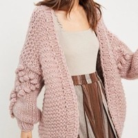 Heart On My Sleeves Handmade Relaxed Open Knit Knitted Open Front Cardigan Sweater in Mauve