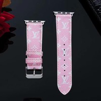 New 2019 LV Mini Monogram Apple Watch Band - Pink & White