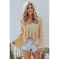 Vintage Soul Bell Sleeve Top (Dusty Yellow)