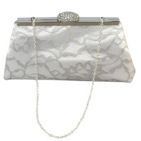 White, Platinum Grey Lace and Teal Bridal Clutch