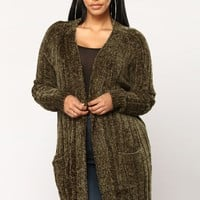 No More Rainy Days Cardigan Sweater - Olive