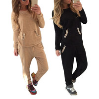Women 2 Pieces Set Hoodie Pant Sport Suit Chain Sweatshirts Gym Joggers Tracksuit Sets