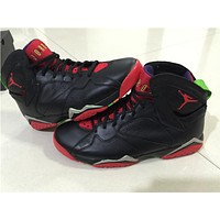 "Air Jordan 7 ""Marvin The Martian "" black/red Basketball Shoes 41-47"