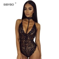 SIBYBO 2017 Sexy Halter Black Lace Mesh Bodysuit Women Tops Vintage Transparent Floral Party Overalls Rompers Women Jumpsuits