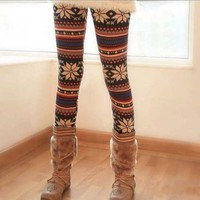 Casual Knitted Colorful Crystal Pattern Leggings Tights Pants Comfortable