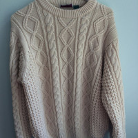 cozy, cream cable knit fisherman's sweater
