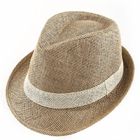 SUMMER FEDORA WITH A WOVEN BAND DESIGN