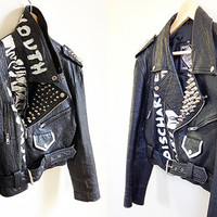 Vintage Punk Leather Jacket -- Hand Painted -- Studded -- Rare Vintage 80s Black Leather Jacket -- Punk Rock -- Womens Small / Medium