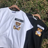 Moschino 2020 new heavy industry embroidered bear round neck half-sleeved T-shirt