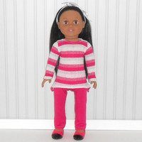 Shiny Fuchsia Stripe Tunic Top and Leggings for 18 inch Girl Doll Clothes with Asymmetrical Hem