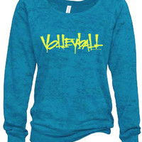 Abstract Volleyball Wide-Neck Turquoise Blue Burnout Crew Sweatshirt available in 4 Styles