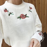 2 colors 2016 autumn and winter Rose embroidered thickening long-sleeve pullover twisted sweaters womens sweaters and pullovers