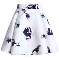ROMWE Floral Print Pleated Lined White Skirt