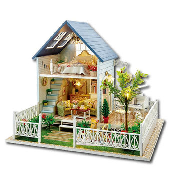 Miniature Dollhouse  DIY Kit Dollhouse with Voice Control Light and Music Box Cute Room House Model Nodic Holiday