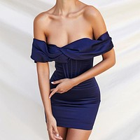 Women's one-shoulder sexy solid color bag hip dress
