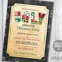 Ugly Sweater Christmas Party Invitations X-Mas Holiday Season Invites Festive Decorations INSTANT DOWNLOAD Knitted Jumper Editable Printable