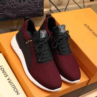 LV Louis Vuitton Casual Fashion Men Sneakers Sports Red Shoes