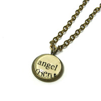 Angel Romantic Word Mini Pendant Brass Setting Library Card Necklace One of a Kind