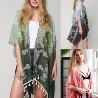 Boho Print Long Kimono Cardigan Cover Up Shawl Wrap Loose Gypsy Hippie One Size
