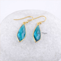 Teal Quartz Faceted 9x22mm Fancy Micron Gold Plated 925 Sterling Silver Dangle Earring Jewelry - #1517