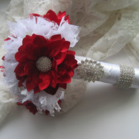 Holiday Bouquet Brides Christmas Bouquet Bridesmaid Christmas Wedding Bouquet Red and White Brooch Bouquet Custom Order