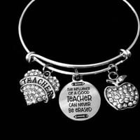 Special Teacher Gift Silver Expandable Charm Bracelet Silver Adjustable Bangle Crystal Apple One Size Fits All