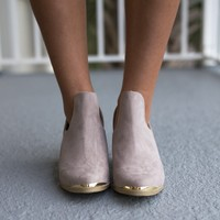 Seeing Gold Taupe Low Cut Booties