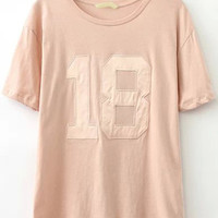 Pink Short Sleeve 18 Print Graphic T-Shirt
