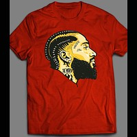 LATE WEST COAST RAPPER NIPSEY HUSTLE CUSTOM OLDSKOOL ART HIP HOP SHIRT