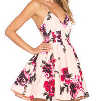 Floral Dress Spring - Multicolour Spaghetti Strap Backless Floral Print Flare Dress