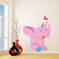 Vinyl Wall Kids Decal Elephant with Butterfly / Art Home Baby Animal Decor Sticker / Child Kids Room Decoration + Free Random Decal Gift!
