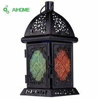 Moroccan Style Matte Cream White Cast Iron Handmade Square Scrollwork Candle Lantern Home Decoration For Restaurant Park Bedroom