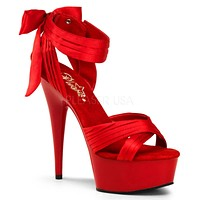 """Delight 668 Red Satin Cross Strap Sexy Back Bow 6"""" Heel"""