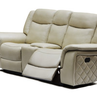 Carly Taupe Leather Loveseat