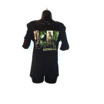 FREE SHIPPING! System of a Down Shredded Band Tee Shirt OOAK S/M LAST ONE!