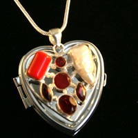 Special Song List Red Coral, Garnet and Mother of Pearl Heart Music Box Locket w/ Sterling Necklace