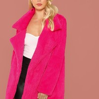 Neon Pink Notch Collar Faux Fur Coat