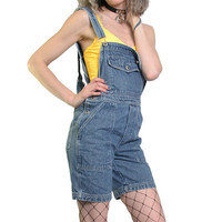 Vintage 90s Denim Overalls Overall Women Shorts Jean Shorts - Blue Jean Overalls Size Medium 1990s Pastel Grunge Goth - Distressed Cute