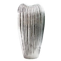 Ribbed Electroplated Ceramic Vase Tall